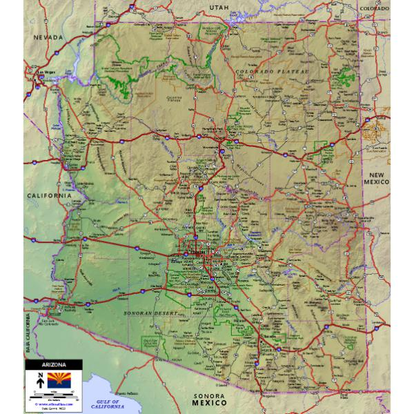 Map Of Arizona To Mexico.Arizona Highway Map World Sites Atlas Avenza Maps